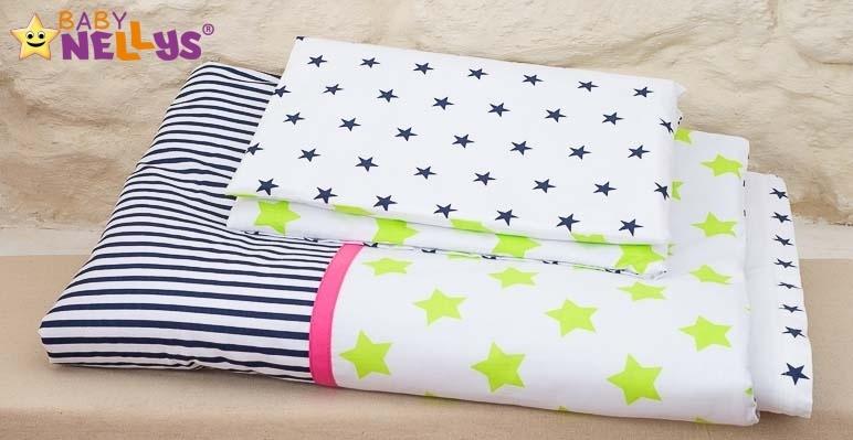 Baby Nellys Mantinel s obliečkami 135x100cm, Stars be Love č. 1