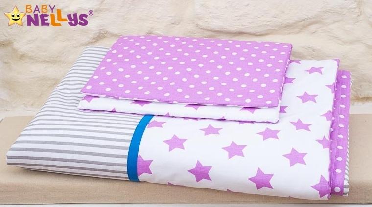 Baby Nellys Mantinel s obliečkami 135x100cm, Stars be Love č. 7
