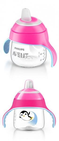 AVENT Prvý hrnček / fľaštička nekapek tučniakov - ružový