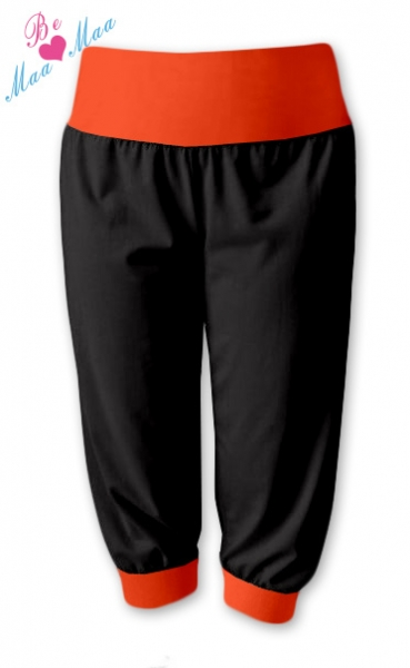 Be MaaMaa Športové 3/4 legíny CAPRI - čierne / oranž-#Velikosti těh. moda;L/XL
