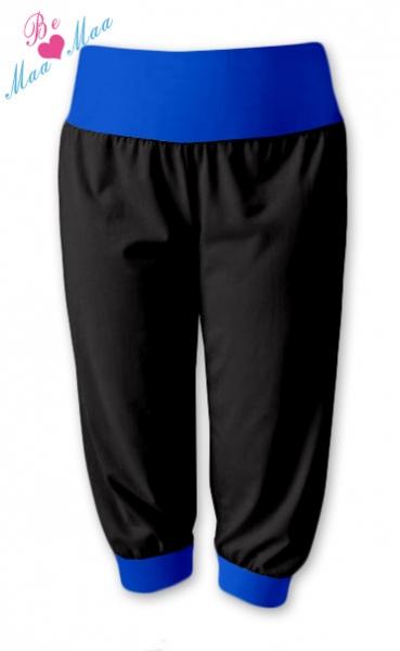 Be MaaMaa Športové 3/4 legíny CAPRI - čierne / tm.modrá-#Velikosti těh. moda;L/XL