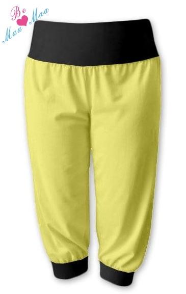 Be MaaMaa Športové 3/4 legíny CAPRI - žltá / čierna-#Velikosti těh. moda;L/XL