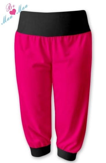 Be MaaMaa Športové 3/4 legíny CAPRI - ružová / čierna-#Velikosti těh. moda;L/XL