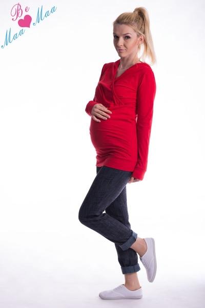 Tehotenská mikina s kapucňou OLINA - červená