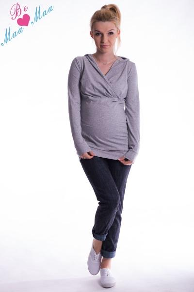 Tehotenská mikina s kapucňou OLINA - sivý melír