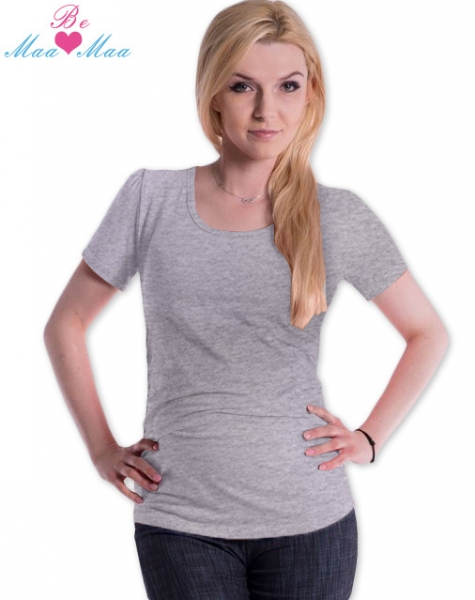 Tehotenské tričko JOLY bavlna - šedý melír