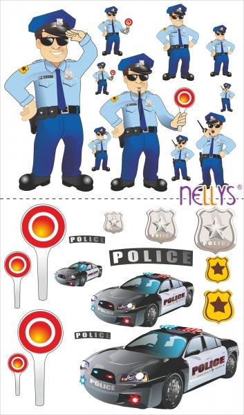 NELLYS Nálepky, dekoracie na stenu 70x100 cm - Polícia