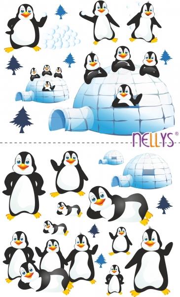 NELLYS Nálepky, dekoracie na stenu 70x100 cm - tučniaky