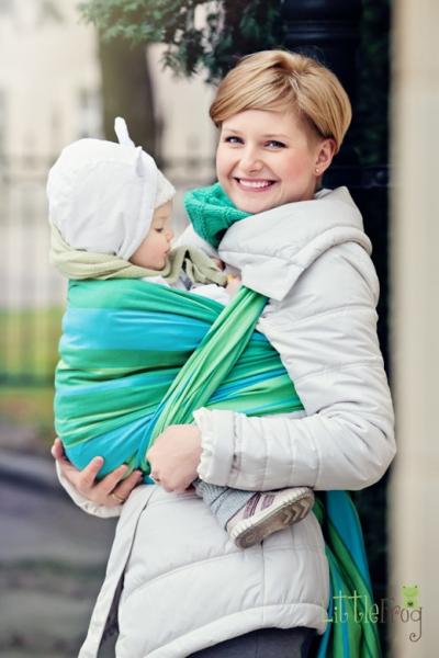 Little FROG Tkaný šatka na nosenie detí - Tyrkys
