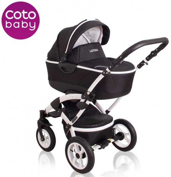 Kočík LATINA Coto Baby 2v1 - Black / čierny