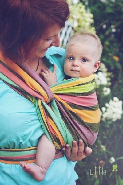 Little FROG Tkaný šatka na nosenie detí - Slnečný Fluoryt, XS