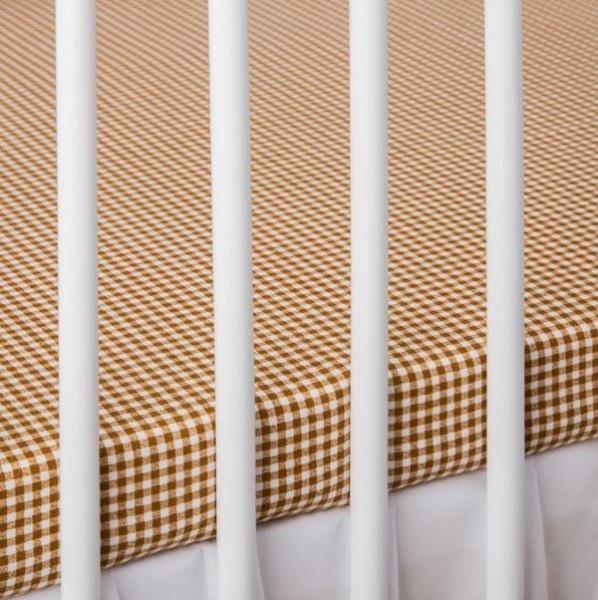 Bavlnené prestieradlo - mriežka hnedá-120x60