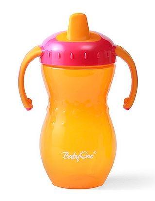 Náučný hrnček Baby Ono, 12m + - oranžový / ružový