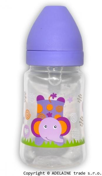 Fľaštička Akuku 125ml - fialová so slonom