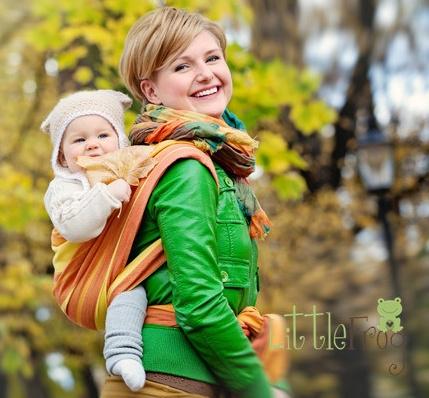 Little FROG Tkaný šatka na nosenie detí - Jaspis, L