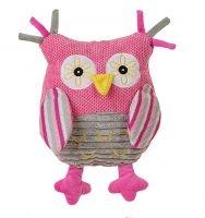 BabyOno Edukačná plyšová hračka s hrkálkou - Malá sova ružová - HOLKA