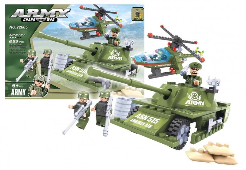 Stavebnica Ausin tank vojenský, 253 dielov
