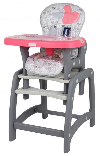 BABY MIX Jedálenská stolička 2v1 - Srdce koral