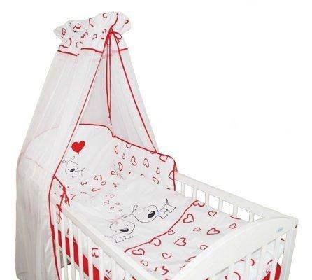 Mantinel s obliečkami PUPPY LOVE - červené so srdiečkami