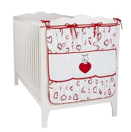 Vreckár PUPPY LOVE - červené srdiečka