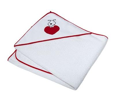 Osuška s kapucňou Ty i My 100 x 100cm - PUPPY LOVE - červené srdiečka