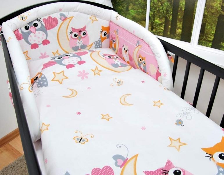 Baby Nellys Bavlnené obliečky sovička ružové