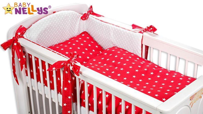 Mantinel s obliečkami Mink BABY - červené hviezdičky