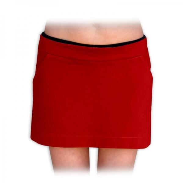 Boková denim sukne nielen pre tehotné - červená