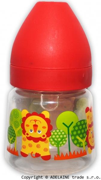 Fľaštička Akuku 250ml - červená sa levíkom