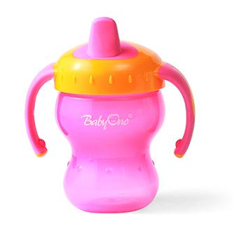 Náučný hrnček Baby Ono, 6m + - ružový / oranžový