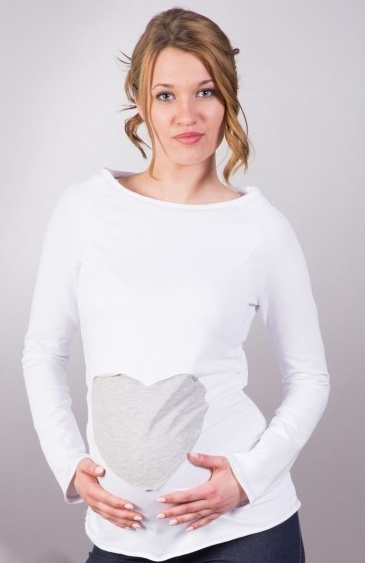 Gregx Tehotenské tričko / blúzka SRDCE dl. rukáv - biele-XS/L