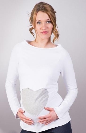 Be MaaMaa Tehotenské tričko / blúzka SRDCE dl. rukáv - biele-XL/XXXL