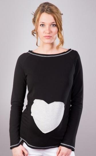 Tehotenské tričko / blúzka SRDCE dl. rukáv - čierne-XS/L