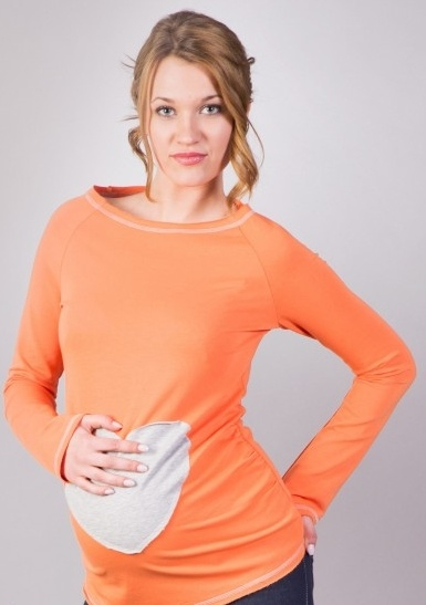 Tehotenské tričko / blúzka SRDCE dl. rukáv - oranžové-XS/L