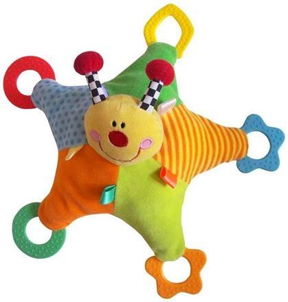 Mazlík s hrkálkou a hryzátkami BABY MIX - LIENKA