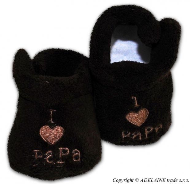 Topánočky / capačky I LOVE Papa - hnedé