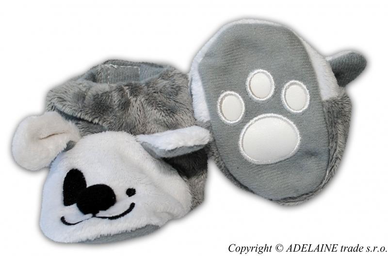 Topánočky / capačky - myšička sivá / biela