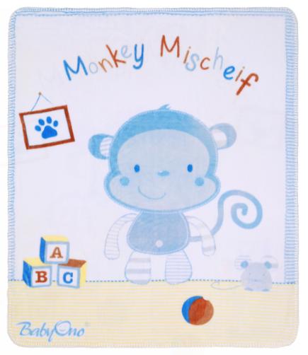Luxusné obojstranná dečka Baby Ono, satén / plyš - Opička