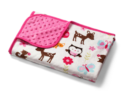 Luxusné obojstranná dečka Baby Ono - Mink ružová, lesné zvieratá
