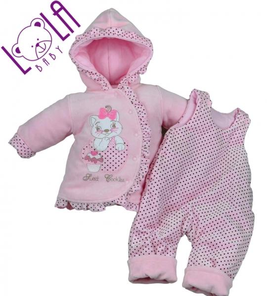 LOLA BABY Oteplenie komplet - bundička a traky SWEET COOKIES ružové
