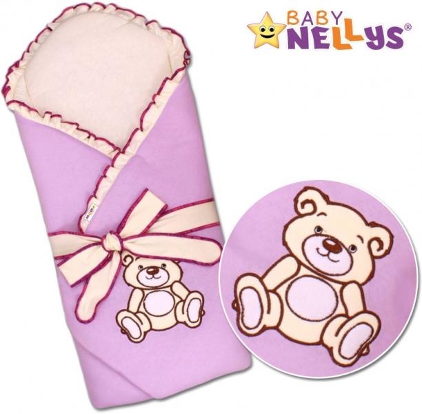 Zavinovačka s výztuží Baby Nellys - Medvídek Teddy - jersey - lila