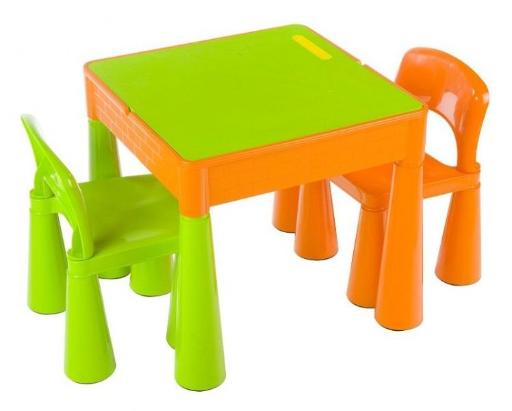 TEGA Sada nábytku pre deti - stolček a 2 stoličky - oranž / zelená