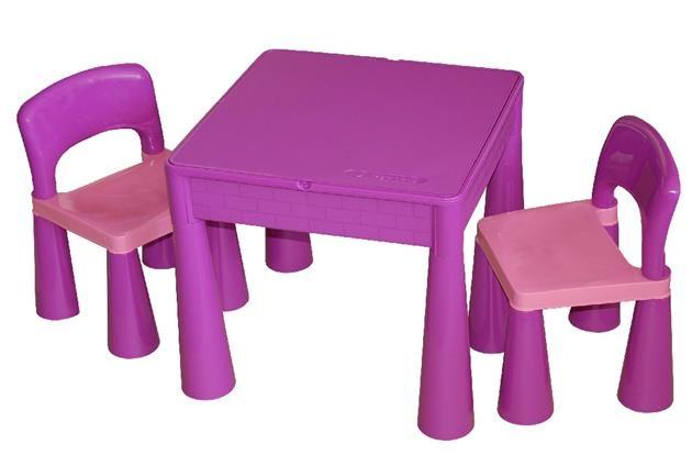 TEGA Sada nábytku pre deti - stolček a 2 stoličky - fialová