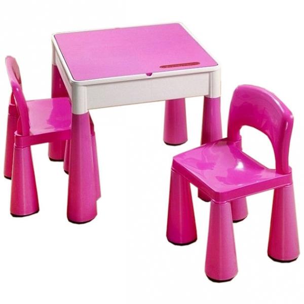 TEGA Sada nábytku pre deti - stolček a 2 stoličky - ružová