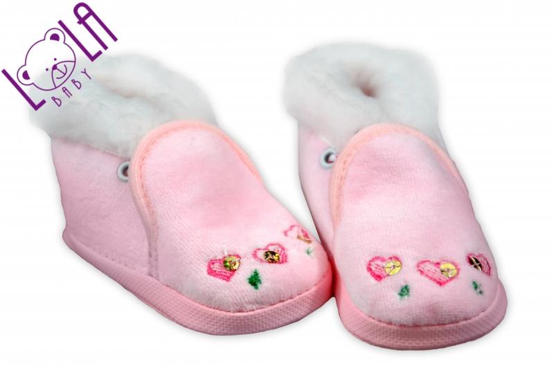 Topánočky / papučky dojčenskej - velúr - sv. ružové