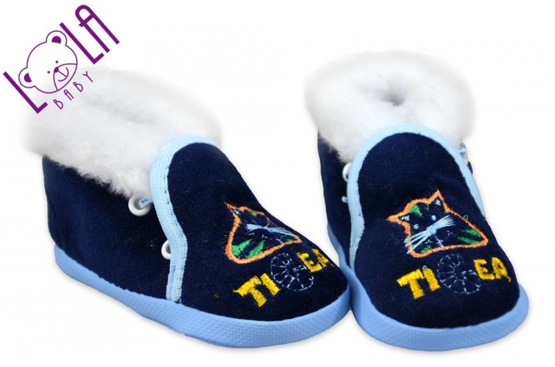 Topánočky / papučky dojčenské - velúr - tm. modrá, veľ. 13 cm