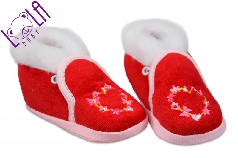 LOLA BABY Topánočky / papučky dojčenskej - velúr - červená