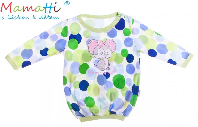Bavlnené tričko Mamatti -Myška Bodky, 80 (9-12m)