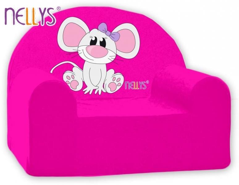 Detské kresielko / pohovečka Nellys ® - Myška v ružovej