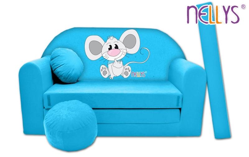 Rozkladacia detská pohovka Nellys ® Myška v modrom